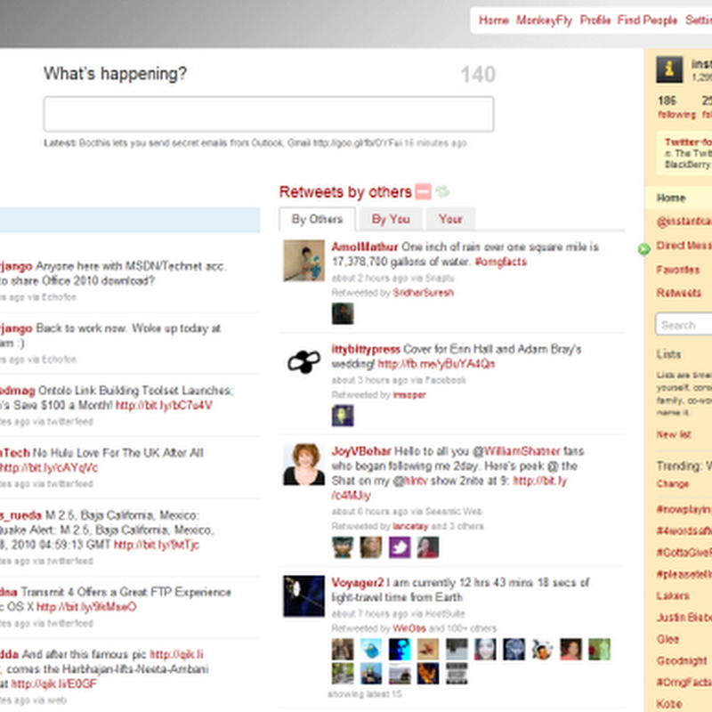 MonkeyFly turns Twitter into dashboard-style web application