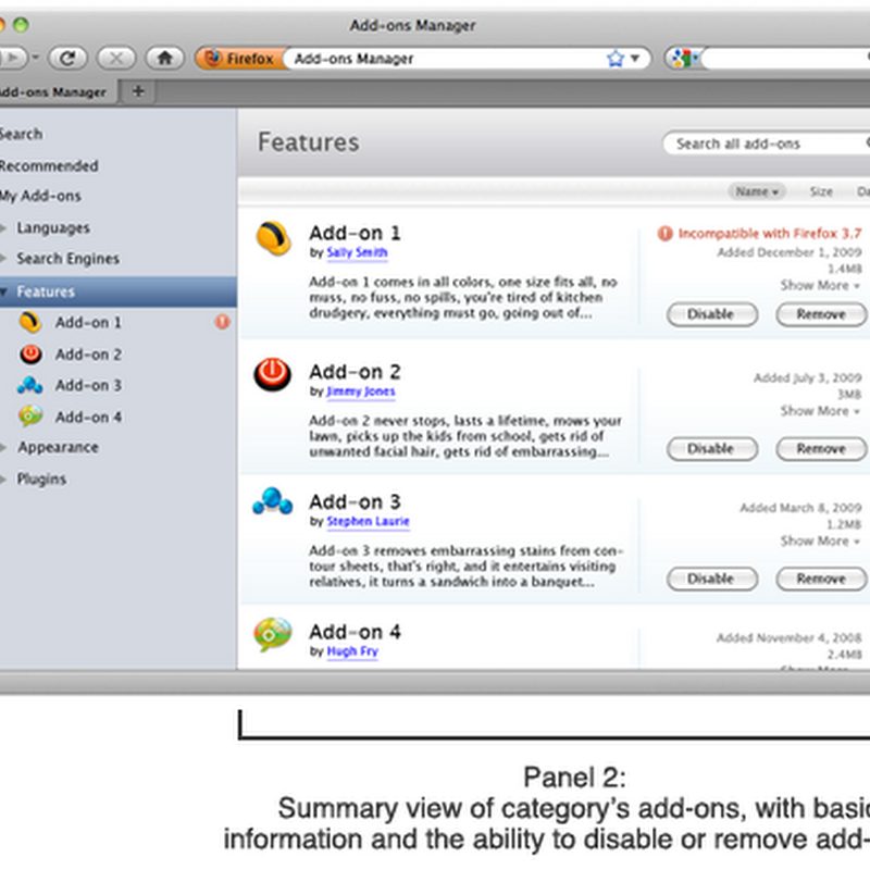 Firefoxs new Addon Manager [screenshots]