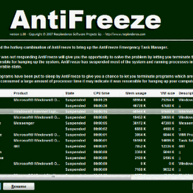 Recover from a system hang with AntiFreeze
