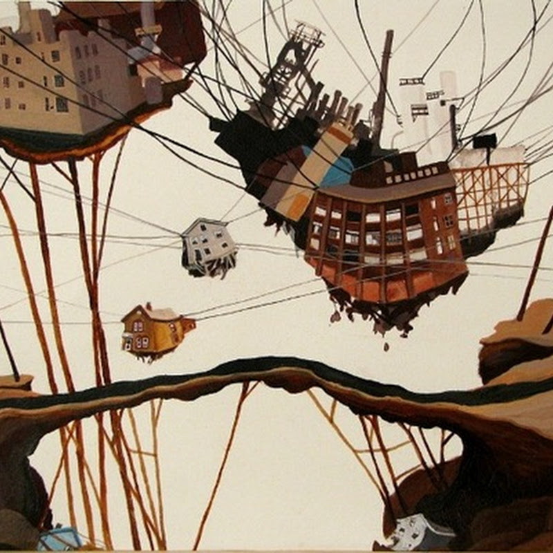 "Amy Casey's paintings of ""falling cities"""