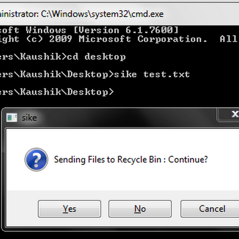 Delete/Send files to Recycle Bin via Command Line