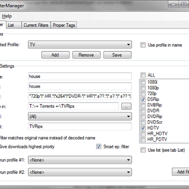 uTFilterManager - RSS filter manager for uTorrent
