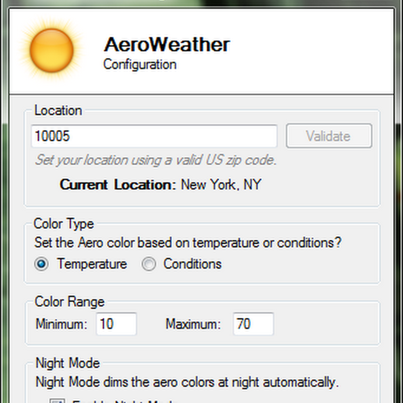 AeroWeather changes Windows Aero color by weather