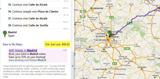 google-maps-fuel-cost