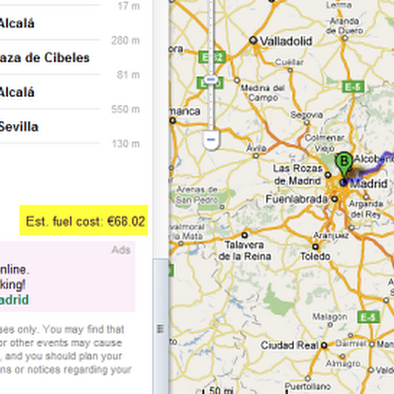 Google Map Fuel Cost Calculator For Driving Between Two Places