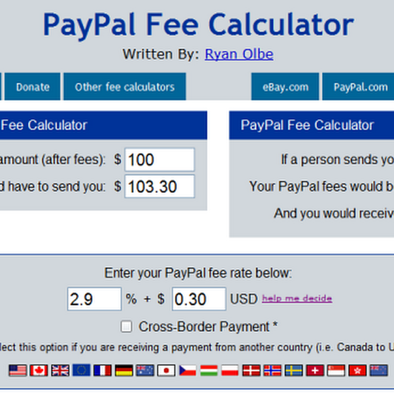 eBay and PayPal Fees Calculator