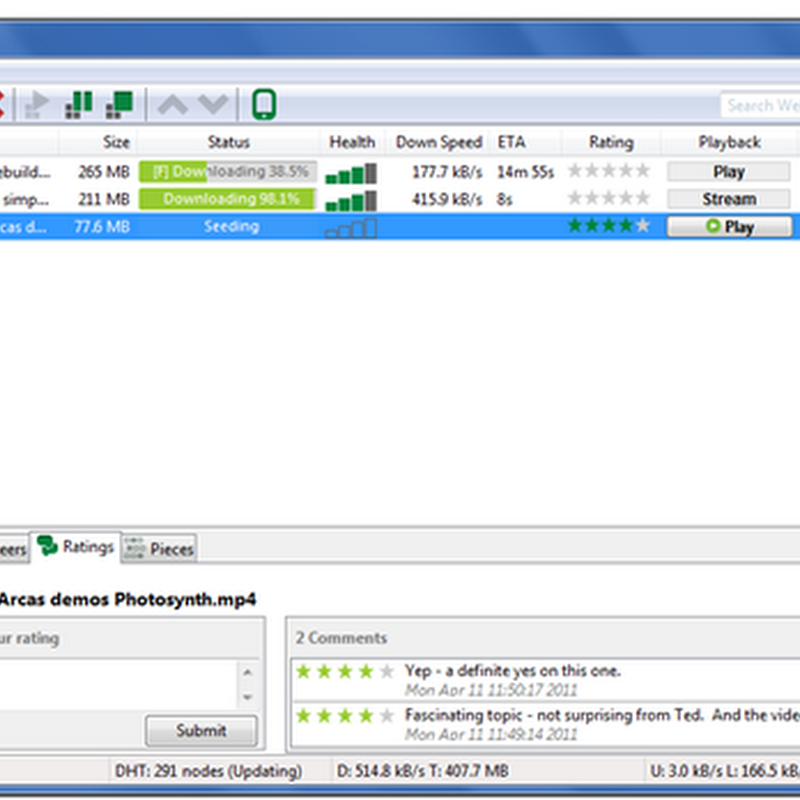 uTorrent 3.0 Beta Adds Video Streaming, Ratings and Comments