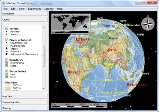 Marble: Google Earth-Like Virtual Globe Software - Instant Fundas
