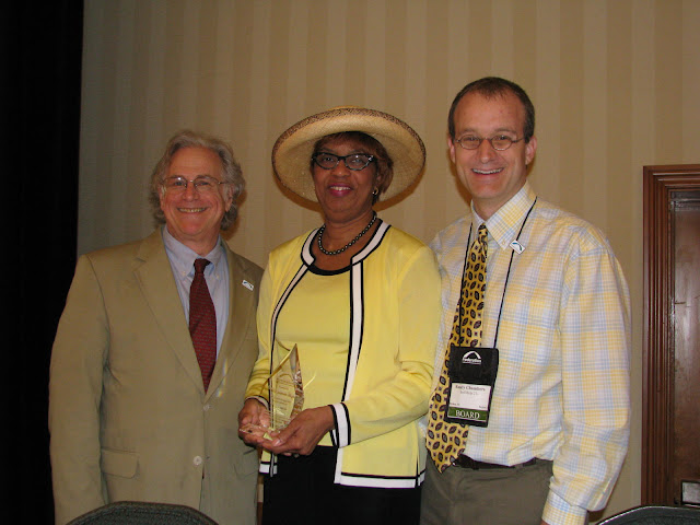 Federation President/CEO Cliff Rosenthal (at left) with former Federation Chairman Eunice J. Rogers and new Chairman Randy Chambers.
