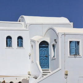 white house by Vibeke Friis - Buildings & Architecture Homes ( white building blue shutters,  )