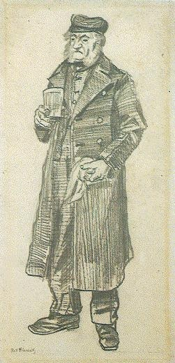 Orphan Man with Long Overcoat, Glass and Handkerchief