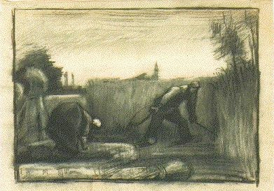 Wheat Field with Mower and a Stooping Peasant Woman