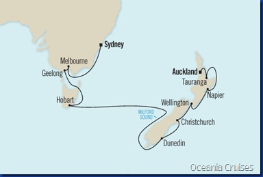Beyond Group Travel Splendors of Down Under Map Oceania Cruises Regatta