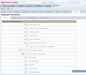 Keyboard shortcuts used in Zimbra