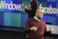 Microsoft chief executive officer Steve Ballmer delivers the pre-event keynote at International CES 2009; Ballmer announced the availability of Windows 7 beta