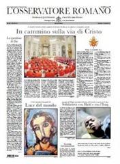 L'Osservatore Romano del 21 de noviembre de 2010 con mención en primera página del libro del Papa — Luce del Mondo en italiano — en la parte inferior. Los extractos de la entrevista en la última página
