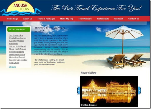 Anoush Tours Website