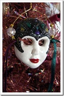 Bejeweled Flapper Mask Ornament