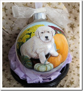 Puppy with Pumpkins Ornament