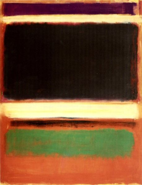 mark rothko, magenta black green on orange