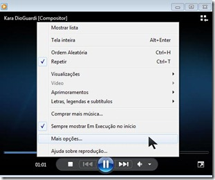 Media Player ativar música no Msn