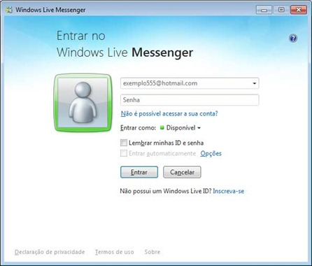 Windows Live Messenger 2011 - Login