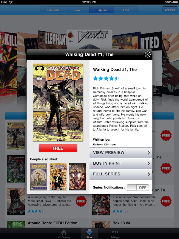 Comics by comiXology Deatiled Comics View screen for iPad