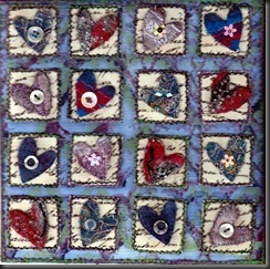Hearts art quilt