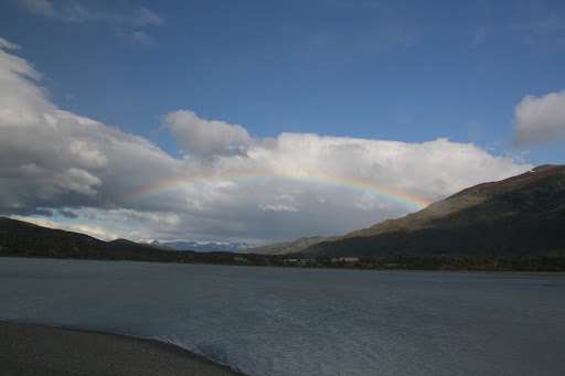 A rainbow over Lago Grey.  Made possible by the mist being kicked up by the ferocious winds.