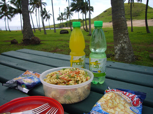 Pasta salad at the beach along with Amy's favorite snack: Cabritas (caramel corn)