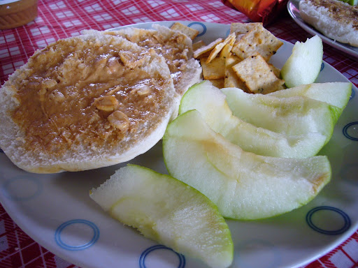 Peanut butter sandwiches, green apples and crackers.  Our first meal on Easter Island.