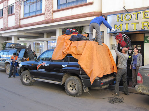 Loading up in Tupiza.  There were four of us, the guide/driver and his wife the cook.