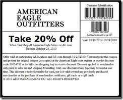 picture regarding American Eagle Coupons Printable referred to as American Eagle 20% OFF Coupon - Printable Coupon Deppot