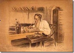 Tolstoï à son bureau