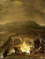 """""""O Batismo de Cristo"""", de Aert de Gelder, pintado em 1710 e pendura no Museu Fitzwilliam, em Cambridge. Um disco em forma de OVNI tipo de objeto está brilhando feixes de luz para baixo sobre João e Jesus."""