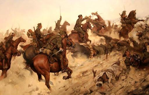 Incluso ya sin caballos, los pocos jinetes que quedan forman la retaguardia de la huida, cubriendo con sus carabinas a sus compañeros.
