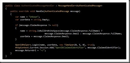 Authentication message handler