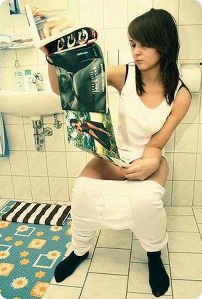 girl on toilet