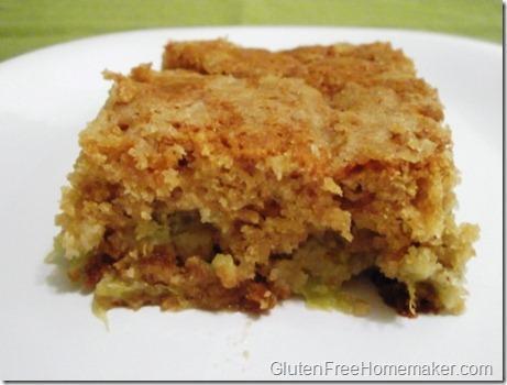 rhubarb coffee cake on plate