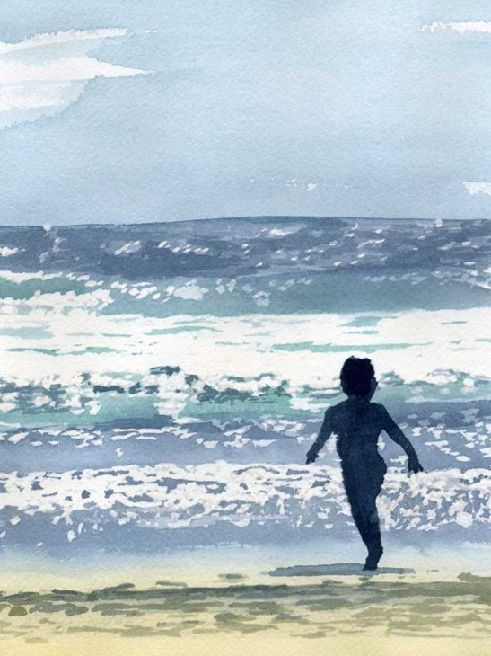 the ocean is calling-watercolo on paper,7.5x10, 2005-E, S