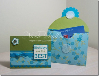 Eastern Blooms Envelope Gift Card Holder open & Card