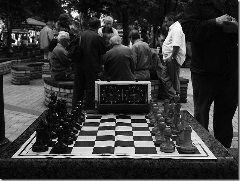 Chess players in park, Kiev, Ukraine