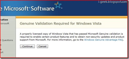 Genuine Validation for Windows Vista