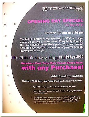 Tony Moly Singapore Opening Promotion
