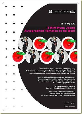 Tony Moly Kim Hyun Joong Autographed Tomatox