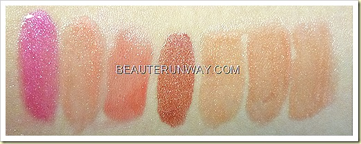 Relvon Colorburst lipgloss swatches Hot Pink, Peony, Strawberry, Rosepearl. Sunset Peach, Rosegold and Buff