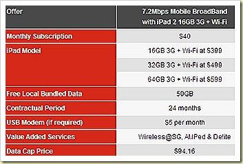 iPad 2 wifi 3G singtel prices