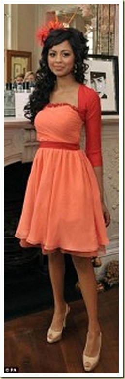 SHOZNA, guest of PRINCE WILLIAM from CentrePoint WORE THE JIMMY CHOO 247 CROWN IN NUDE PATENT AND TUBE IN NUDE SATIN