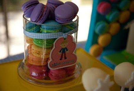 rainbow macarons in jar