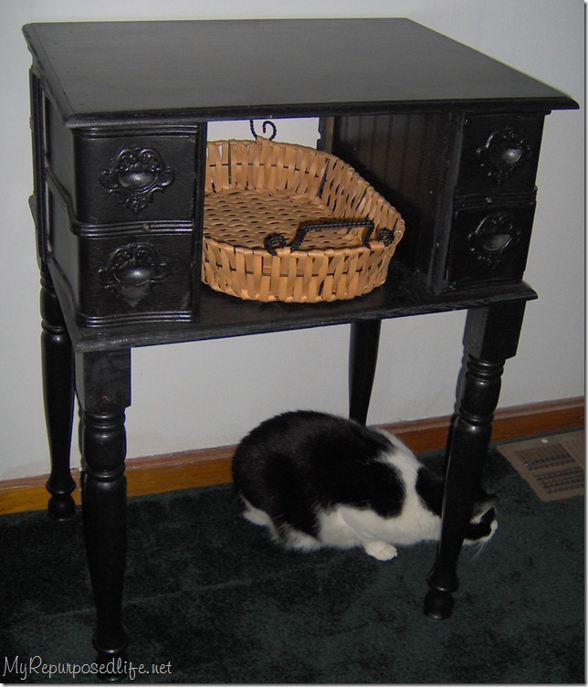... made this table in my post Sewing Machine Drawers into a Side Table